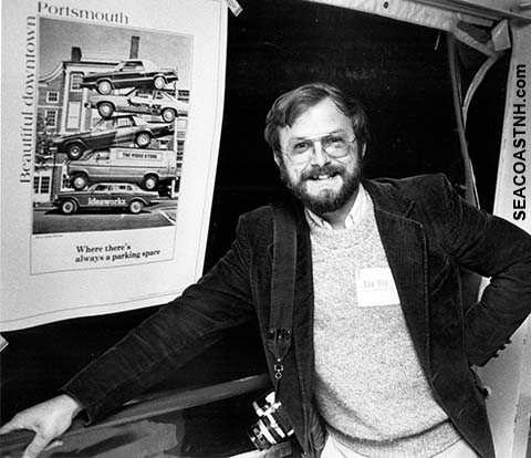Ralph Morang with original Parking Poster at trade show in the mid 1980s
