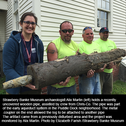 Timber aqueduct pipe unearthed at Strawbery Banke Museum in 2016