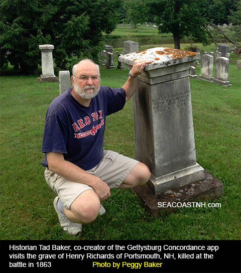 Historian Tad Baker at Richards Grave in Portsmouth, NH