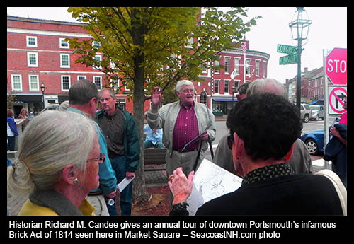 Richard Candee conducts tour of downtown Brick Act / J. Dennis Robinson photo