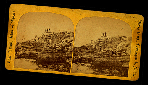 Miss UNderhill's Chair stereoview card by Davis Brothers, Isles of Shoals