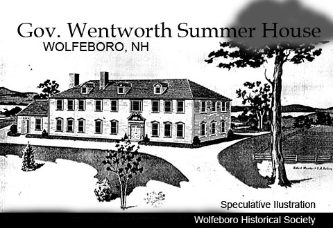 Imagined view of Go Wentworth's Wolfeboro, NH Mansion  1775