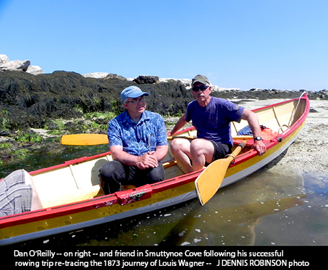 Rower Dan O'Reilly (right) and friend in Smuttynose Cover / J. Dennis Robinson photo