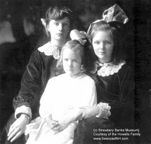 Strawbery Banke founder Muriel Howells (in center) with sisters as a young girl/ Strawbery Banke Archive courtesy Howells Family on SeacoastNH.com