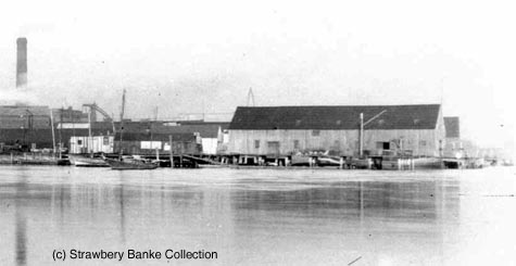 Detail showing site of Prescott Park dock as it was with wharf and warehouse around 1900