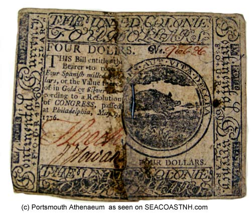 $4 Continental Note from 1776 in Portsmouth Athenaeum collection