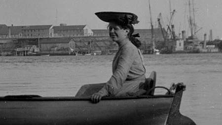 Woman with boat-shaped (c) Portsmouth Athenaeum