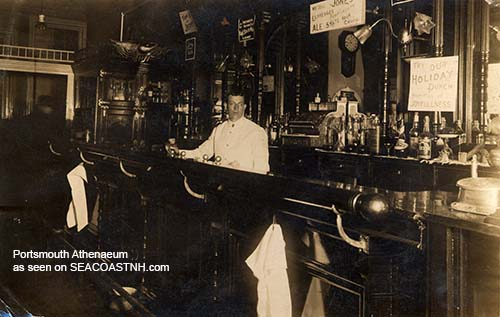 Unidentified Portsmouth, NH bar counter circa 1911/ Portsmouth Athenaeum photo