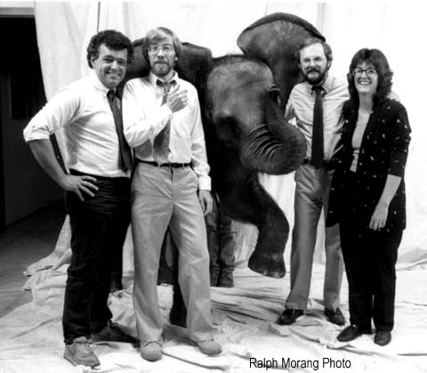 Ideworks and elephant in 1989 featuring (left to right) illustrator Scott Hill, writer J. Dennis Robinson, photographer Ralph Morang and designer Ann Wilcox