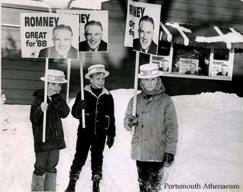 George Romney advocates for President  in Portsmouth, Nh in 1968