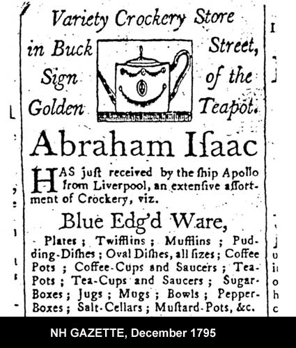 Portion of Abraham Isaac Ad in 1795 NH Gazette