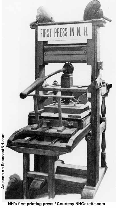 NH's first printing press 1756