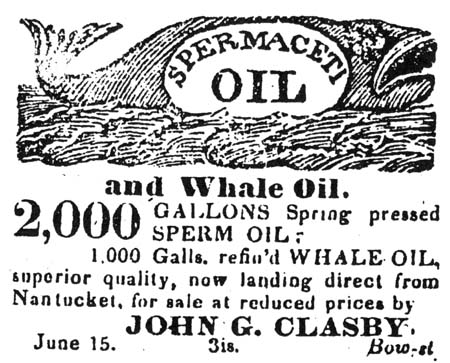 Whale Oil Ad in Portsmouth, NH newspaper