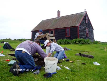 Archeologists in front of Haley Cottage on Smuttynose Island in June 2009 / J. Dennis Robinson photo