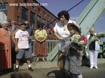 Ellie Foley and grandmother Eileen at 75th Memorial BRidge anniversary in 1998 / SeacoastNH.com photo