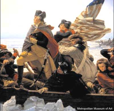 Detail of Washington Crossing the Delaware painting