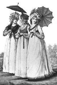 Empire style dresses in fashion in the early 1800s