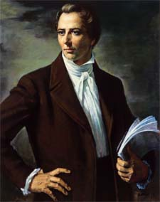 Stylized portrait ofthe Mormon prophet and presidential candidate  Joseph Smith jr. from Church of Latter-Day Saints