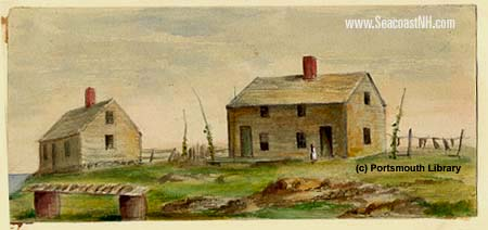 Watercolor of the Haley (left) and Honvet (right) houses on Smuttynose Island by Sarah Haven Foster (c) Portsmouth Public Library