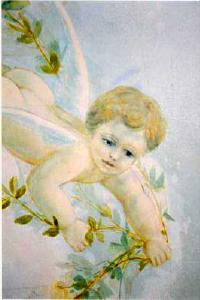 Painted cherub by photographer Stephen Gianotti
