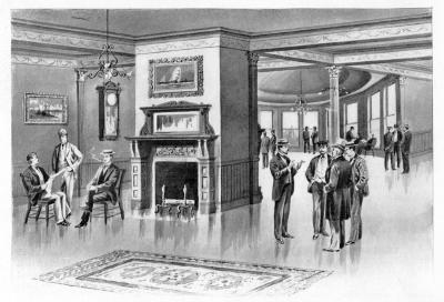 Illustration of Men's Smoking Lounge in Victorian Frank Jones era showing first known image of dome in background / SeacoastNH.com Image Library